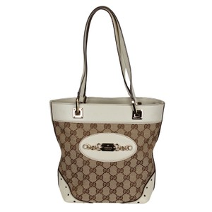 Gucci Vintage Gg Canvas Leather Tote in Brown