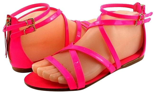 Item - Pink Rosa Fluo 5x8460 Neon Patent Strappy Flat Eur Sandals Size EU 37.5 (Approx. US 7.5) Regular (M, B)
