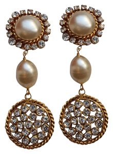 Chanel Ultra RARE Chanel Crystal and Gripoix Pearl 1990 Dangle Earrings