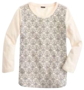 J.Crew Embroidered Preppy Top Ivory black