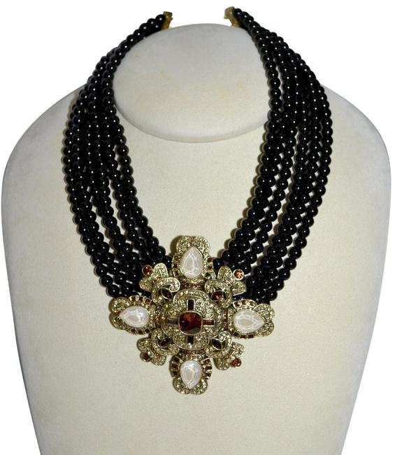 Item - Black 6 Strand Beaded Crystal Pendant Necklace