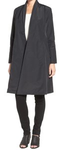 Eileen Fisher Pleated Shawl Collar Hidden Snap Closure On Seam Pockets Lined Truely Elegant Trench Coat