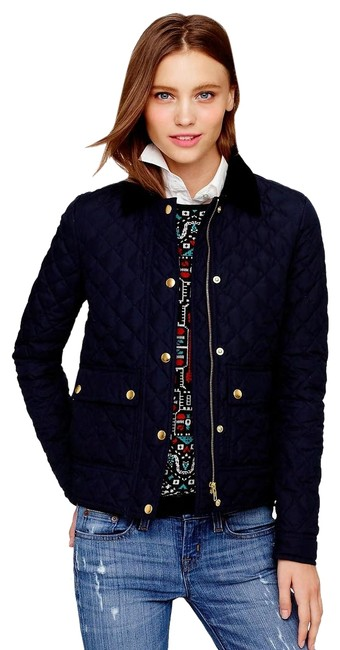 Item - Navy Blue Quilted Tack Down Waterfowl Women New Blazer Jacket Size 2 (XS)