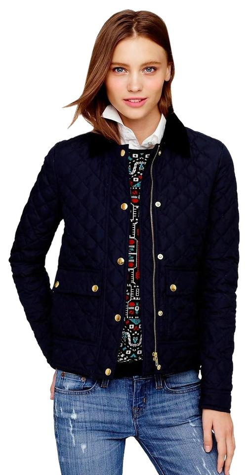 5f672a89c J.Crew Navy Blue Quilted Tack Down Waterfowl Women New Blazer Jacket Size 2  (XS) 54% off retail