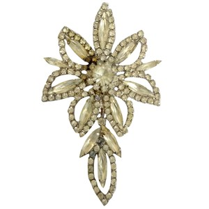 Albert Weiss Antique Brooch Crystal Flower Weiss Rhinestone 40s 1940s Floral Pin