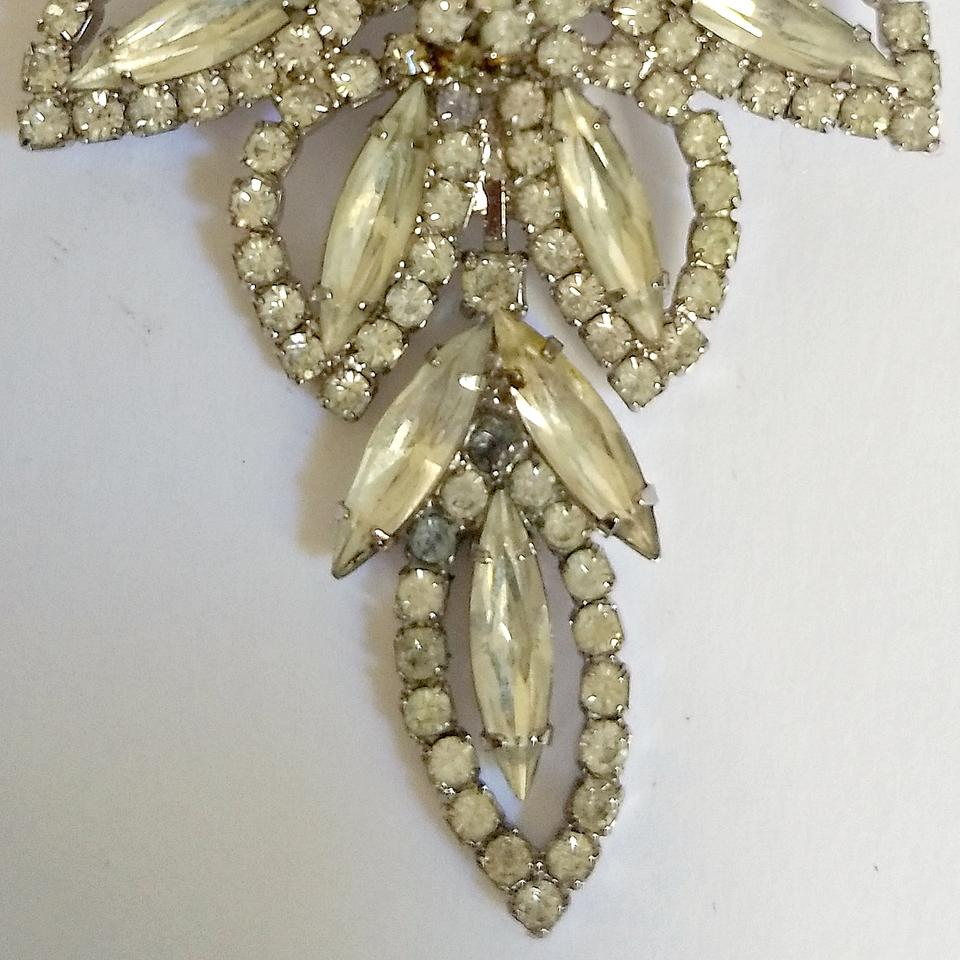 423123e25453a Albert Weiss Silver Antique Brooch Crystal Flower Rhinestone 40s 1940s  Floral Pin