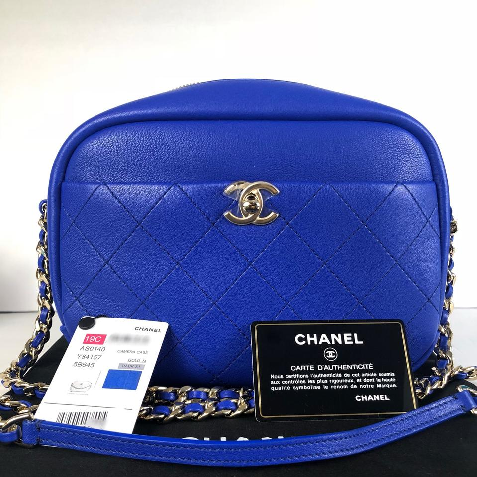 7a43885f677899 Chanel Camera Case Royal Blue Calfskin Leather Cross Body Bag - Tradesy