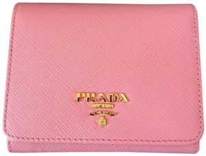 Prada New in Box Saffiano Pink leather wallet