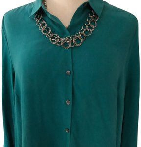 Emerald Green For Holidays Washable Silk Blouse Tunic Size Petite 12