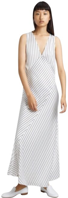 Item - Black and White Relaxed Striped Slip Long Night Out Dress Size 12 (L)