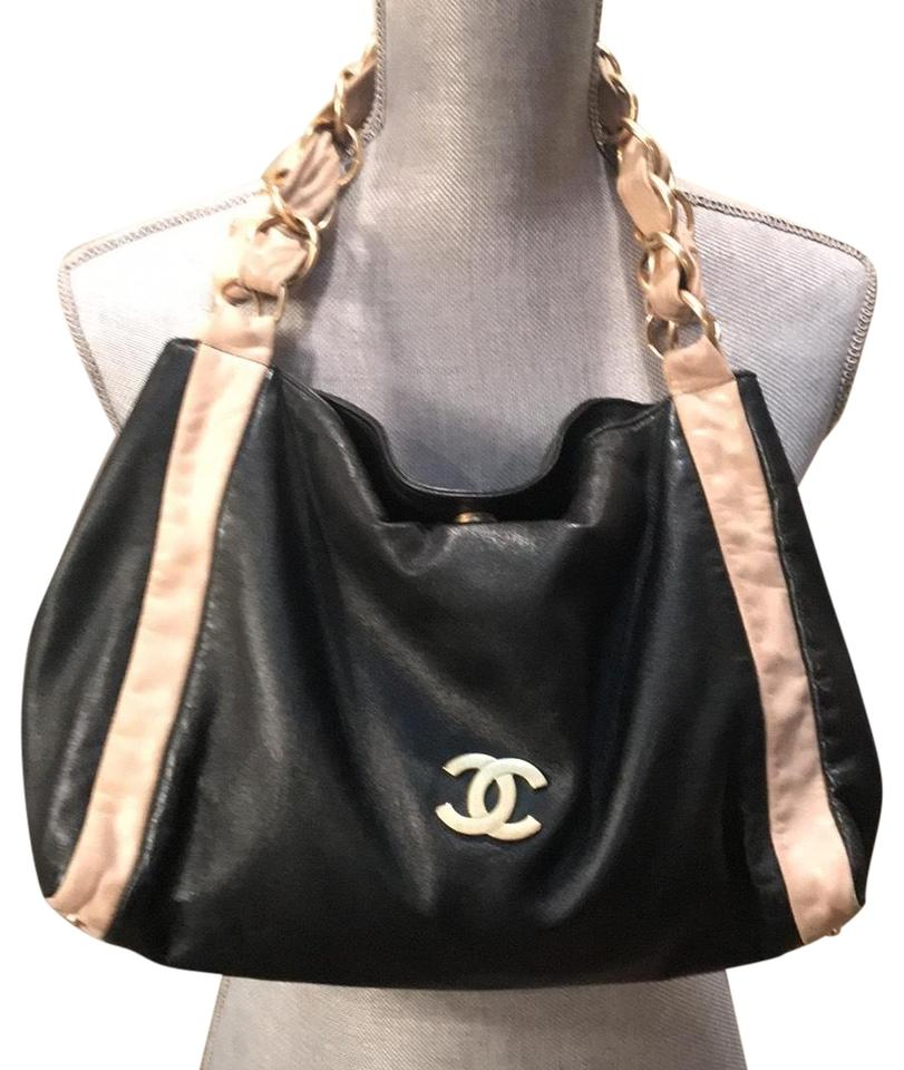 001bcb9a5f6b Chanel Coco Handle Black and Beige Lambskin Leather Shoulder Bag ...