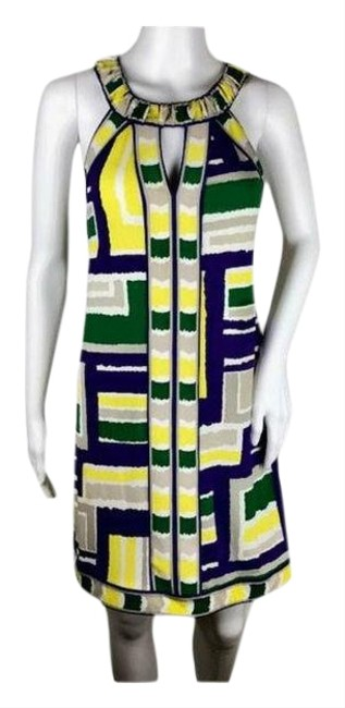 BCBGMAXAZRIA Yellow Purple Green Taupe and White Womens (Sku 001001-3) Short Formal Dress Size 4 (S) BCBGMAXAZRIA Yellow Purple Green Taupe and White Womens (Sku 001001-3) Short Formal Dress Size 4 (S) Image 1