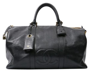 Chanel Duffle Vintage Luggage black Travel Bag
