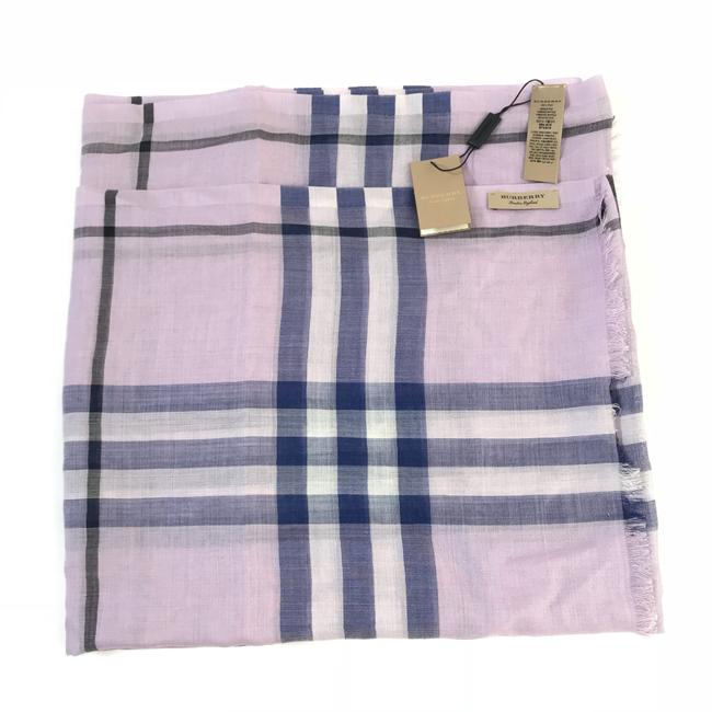 Item - Pale Orchid Lightweight Giant Check Gauze Wool and Silk Scarf/Wrap