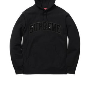 Supreme Patent/Chenille Arc Logo Hooded Sweatshirt