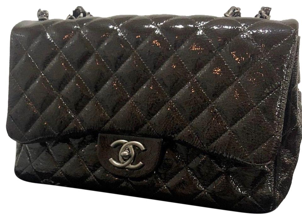 82e4061886c447 Chanel Quilted Patent Jumbo Single Flap Classic Han Dark Brown ...
