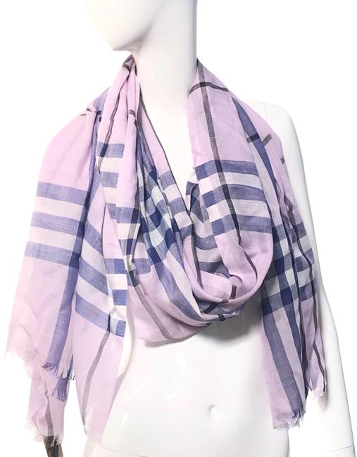 Item - Pale Orchid Lightweight Giant Check Wool and Silk Scarf/Wrap