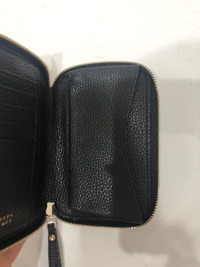 Barneys New York Black Pebbled Leather Zip Wallet