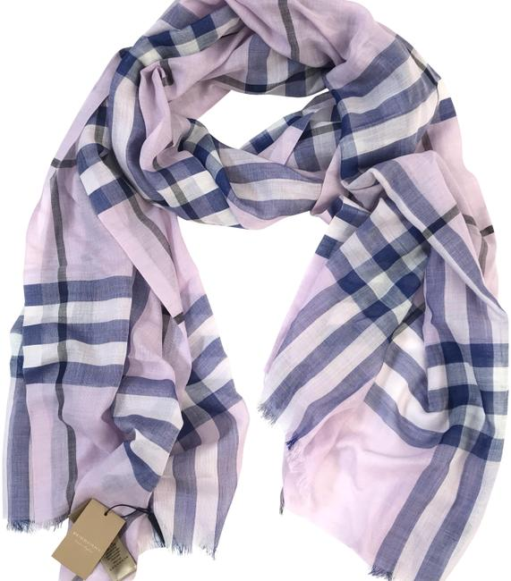 Item - Pale Orchid Lightweight Check Giant Wool and Silk Scarf/Wrap