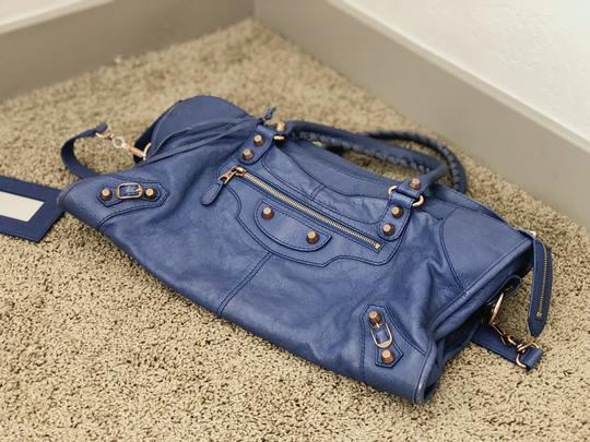 Balenciaga Leather Vintage Tote in Blue