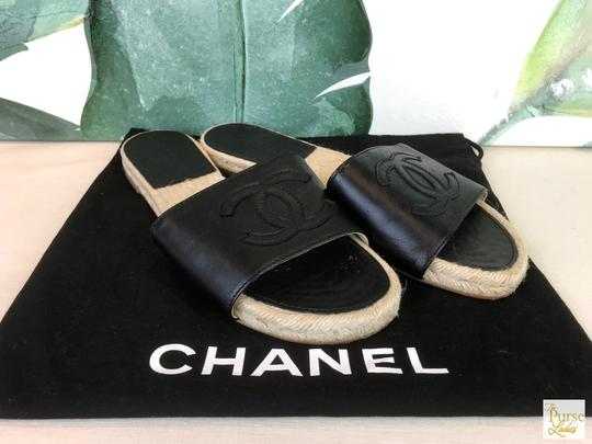 Chanel Lambskin Leather Black Sandals