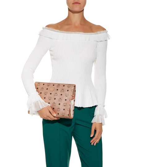 MCM Leather Pouch White Pouch Clutch