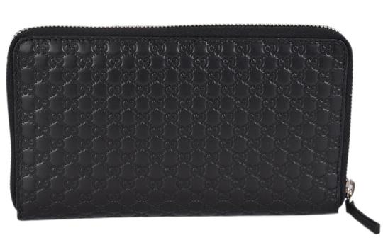 Gucci Gucci 391465 XL Micro GG Black Leather Zip Around Travel Wallet