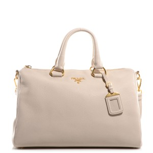 Prada Vitello Phenix Leather Satchel in White