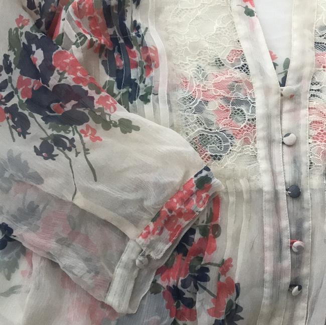 Joie Top Off-white with pink and blue florals
