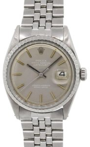 Rolex Rolex 1603 Datejust Gray Stick Dial Engine Turned Bezel Stainless Ste