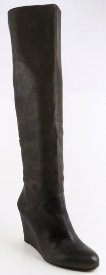 Stuart Weitzman Leather Knee High Wedge Grey Boots