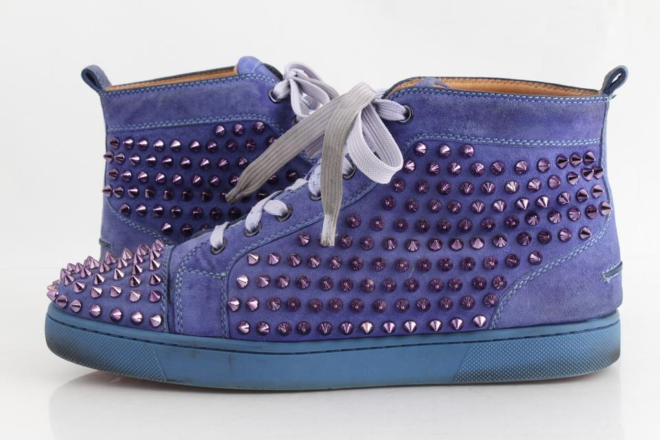 Christian Louboutin Blue Pervinche Suede Metallic Spike Hi Top Sneakers Shoes 30 Off Retail