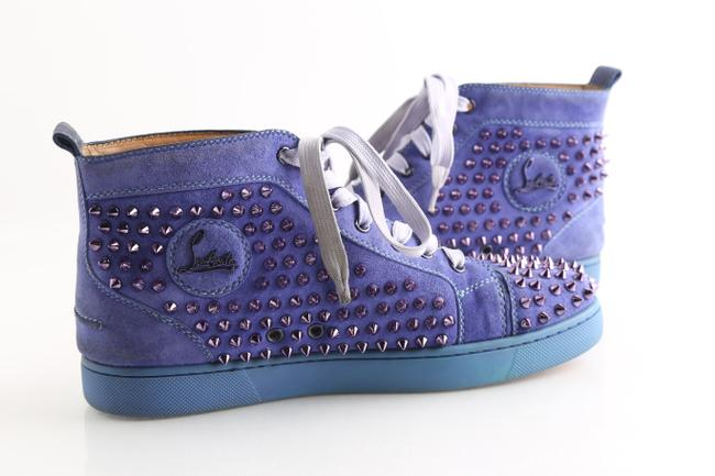 Christian Louboutin Blue Pervinche Suede Metallic Spike Hi-top Sneakers Shoes Christian Louboutin Blue Pervinche Suede Metallic Spike Hi-top Sneakers Shoes Image 1