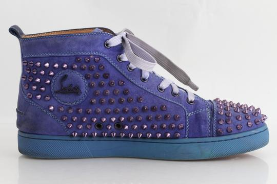 Christian Louboutin Blue Pervinche Suede Metallic Spike Hi-top Sneakers Shoes