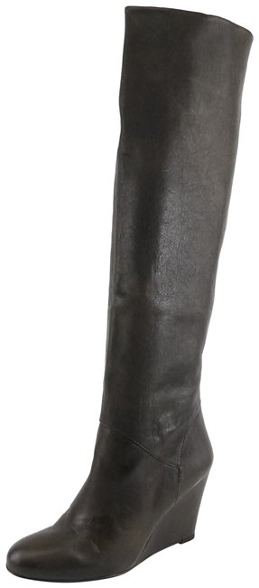 Item - Grey Linear Fumo Leather Knee High Wedge Boots/Booties Size US 9.5 Regular (M, B)
