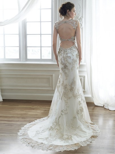 Maggie Sottero Ivory/Pewter Accent Embroidered Lace Jade Vintage Wedding Dress Size 10 (M)