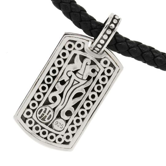 John Hardy John Hardy Dayak Sterling Silver Small Dog Tag on Leather Necklace