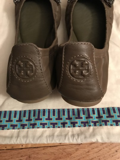 Tory Burch Army green Crystals Flats