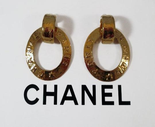 Chanel 1993 Vintage 2- Way Hammered Clip Hoop Dangle Earrings