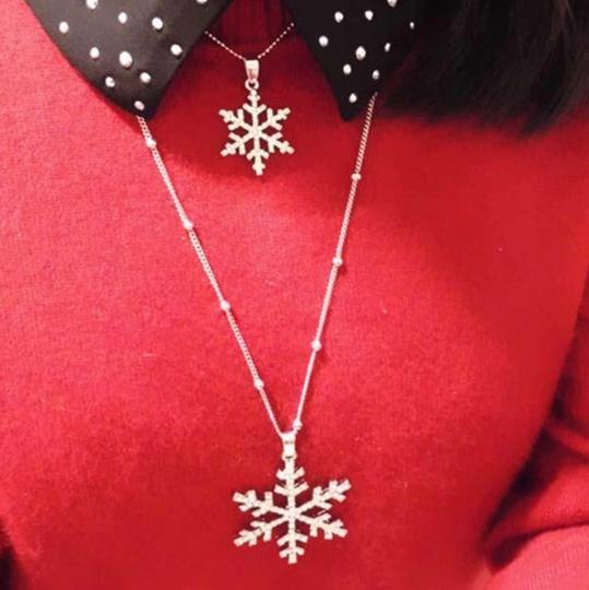 Just Gorgeous Studio Winter Snowflake Sparkle Layered Necklace