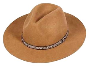 Other New Wool solid panama Hat chevron print band Camel