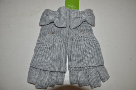 Kate Spade NWT KATE SPADE YORK SOLID BOW POP TOP GLOVES GLOVE HEATHER GREY