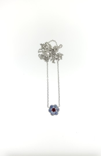White Gold 14k with Burma Ruby Aaa and Light Blue Sapphire Necklace