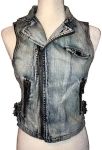 David Kahn Denimvest Acidwash Studded Vest
