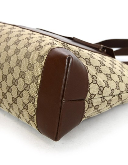 Gucci Monogram Gg Leather Tote in Brown