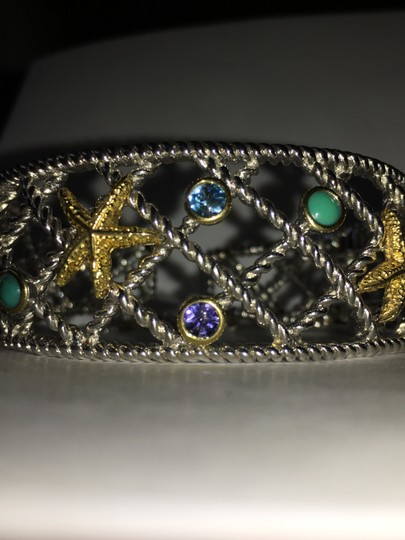 Other Sterling and 14k Yellow Gold Starfish Semi-Precious Stone Bangle