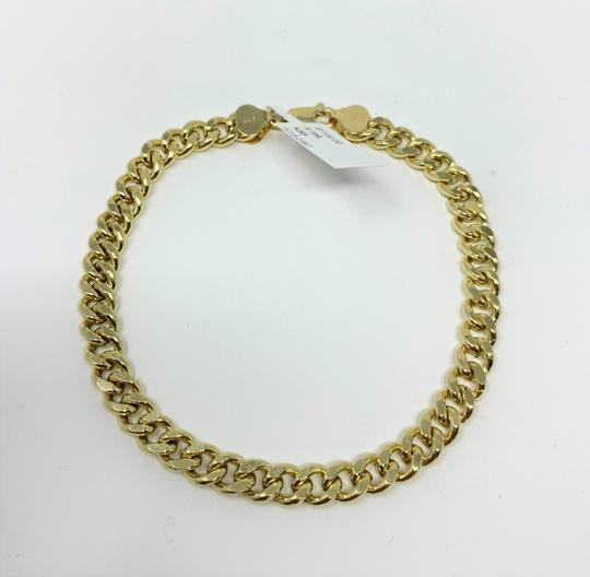 Other 14k Yellow Gold Hollow 6.5mm Cuban Curb Link Chain Bracelet 9
