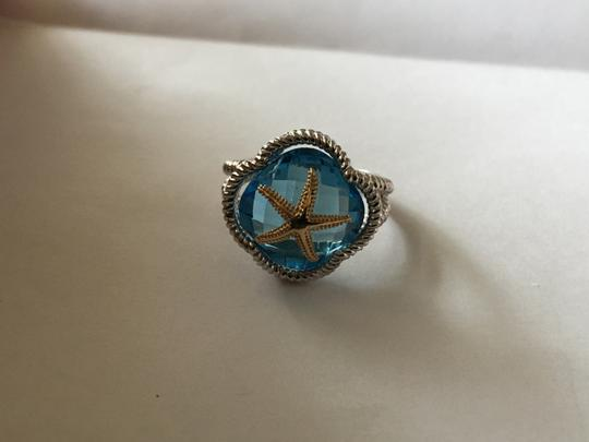 Other Sterling and 14k Blue Topaz Starfish Ring