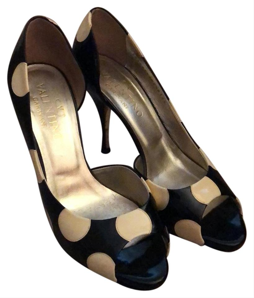 8ec328d650c0 Valentino Black and White Vintage Look   Patent Leather Polka Dot ...