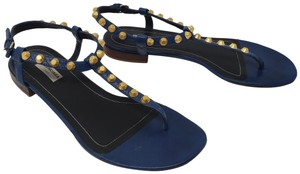 Balenciaga Studded Gold Hardware Arena Ankle Strap Perforated Blue Sandals
